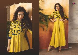 Embroidered Georgette Lemon Blue Color Stylish Kurti-Tribal 01