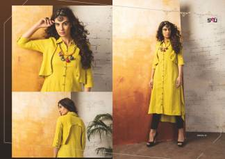 Embroidered Georgette Lemon Yellow Color Stylish Kurti-Tribal 10