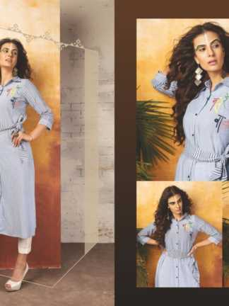 Embroidered Georgette Light Blue Color Stylish Kurti-Tribal 11