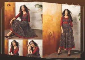 Embroidered Georgette Maroon Navy Blue Color Stylish Kurti-Tribal 03