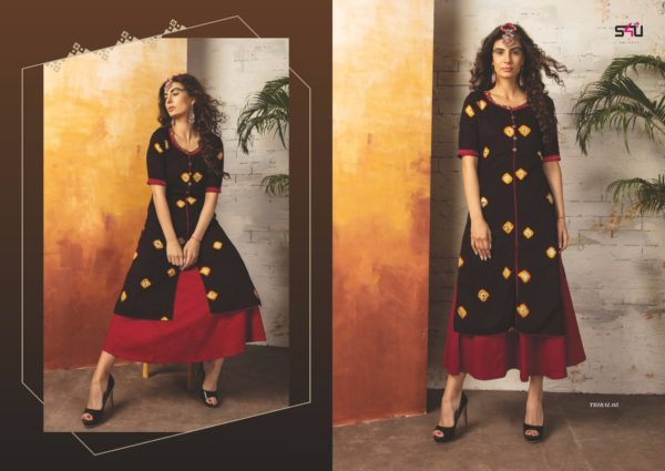 Embroidered Georgette Maroon Red Color Stylish Kurti-Tribal 05