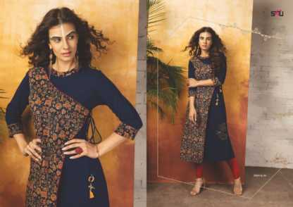 Embroidered Georgette Navy Blue Color Stylish Kurti-Tribal 06