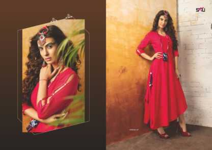 Embroidered Georgette Red Color Stylish Kurti-Tribal 07