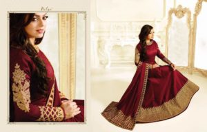 Embroidered Mulborne Silk Maroon Color Party Wear Suit2