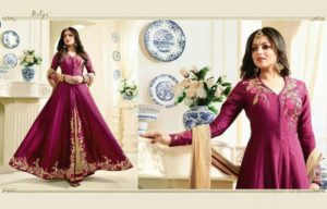 Embroidered Tapeta Silk Dark Pink Color Party Wear Suit