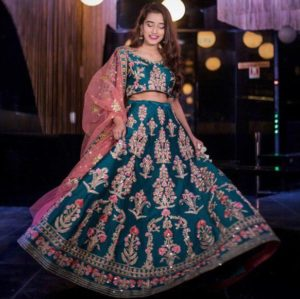 Ferozi Color Heavy Embroidered Designer Makhmal Silk Party Wear Lehenga