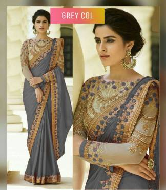 Grey Color Rangoli Silk Party Wear Saree With Embroidered And Diamond Work