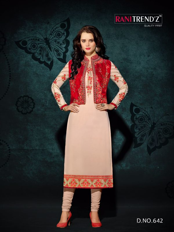 Heavy Faux Georgette Cream Color Party Wear Kurti with Jacket Design 642