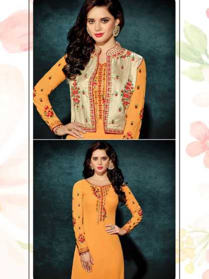 Heavy Faux Georgette Haldi Color Party Wear Kurti with Jacket