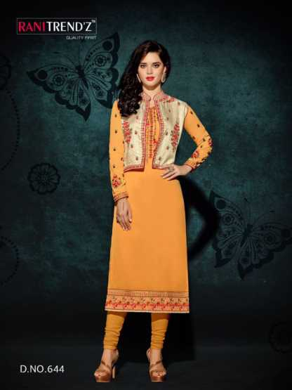 Heavy Faux Georgette Haldi Color Party Wear Kurti with Jacket Design 644