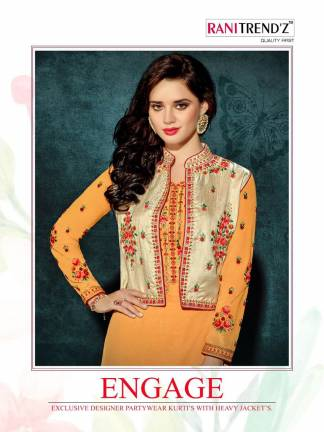 Heavy Faux Georgette Haldi Color Party Wear Kurti with Jacket stitched