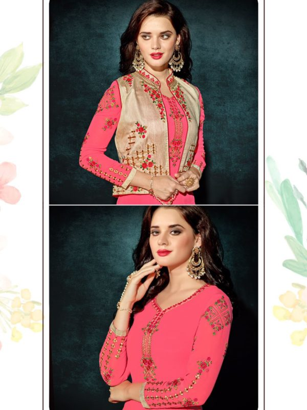 Heavy Faux Georgette Light Pink Color Party Wear Kurti with Jacket