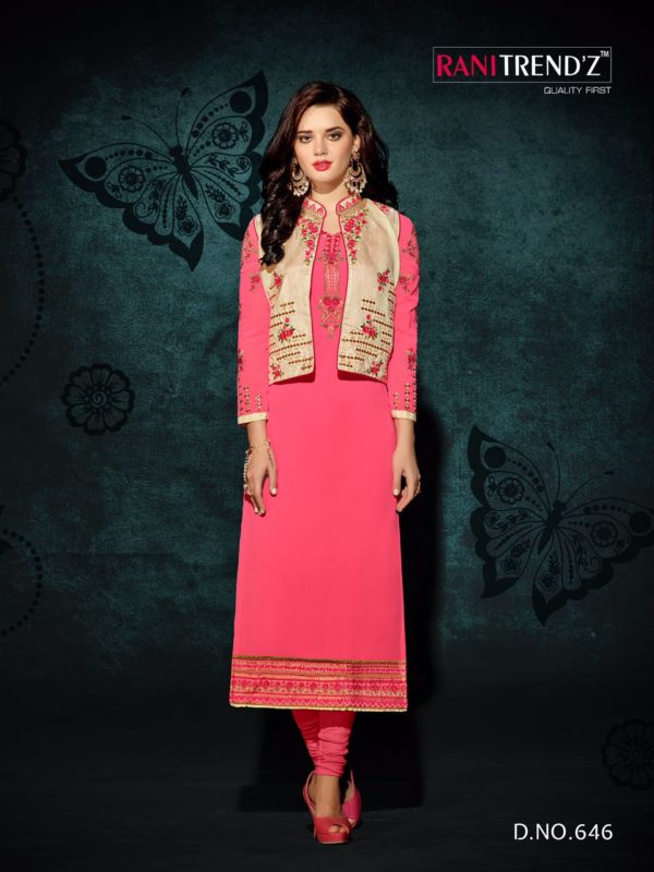Heavy Faux Georgette Light Pink Color Party Wear Kurti with Jacket Design 646