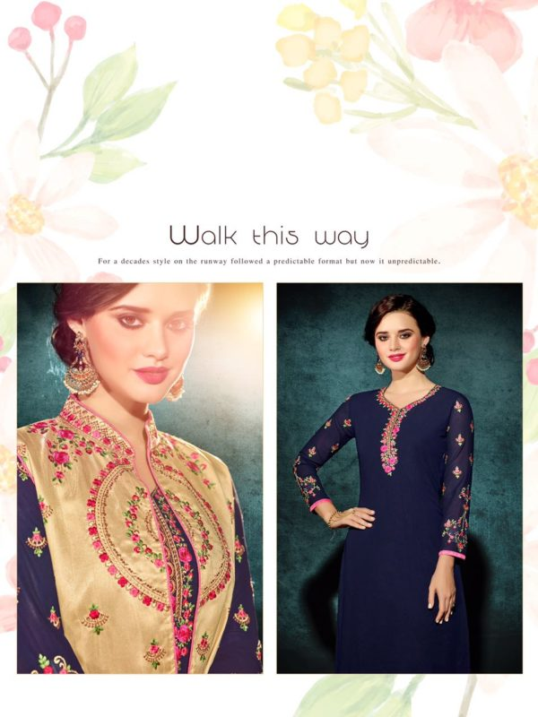 Heavy Faux Georgette Navy Blue Color Party Wear Kurti with Jacket
