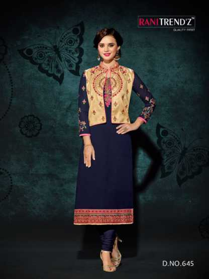 Heavy Faux Georgette Navy Blue Color Party Wear Kurti with Jacket Design 645