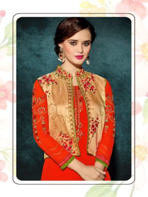 Heavy Faux Georgette Orange Color Party Wear Kurti with Jacket