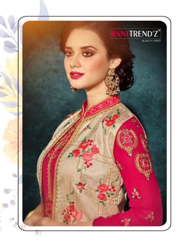Heavy Faux Georgette Pink Color Party Wear Kurti with Jacket
