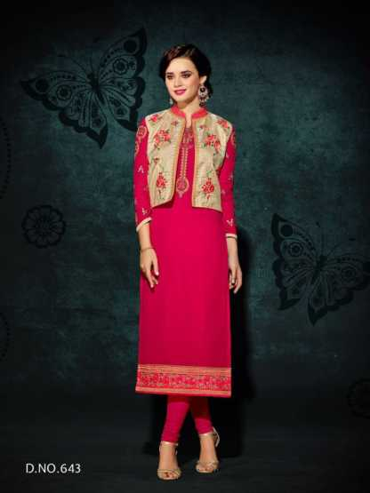 Heavy Faux Georgette Pink Color Party Wear Kurti with Jacket Design 643