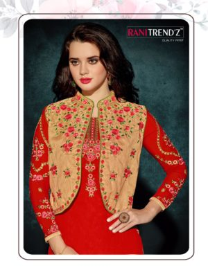 Heavy Faux Georgette Red Color Party Wear Kurti with Jacket
