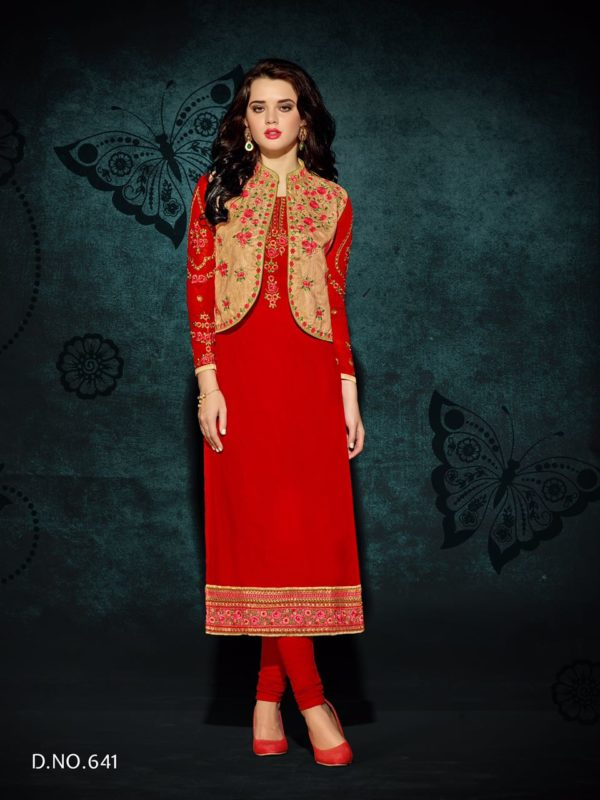 Heavy Faux Georgette Red Color Party Wear Kurti with Jacket Design 641
