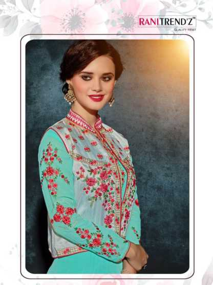 Heavy Faux Georgette Sea Green Color Party Wear Kurti with Jacket