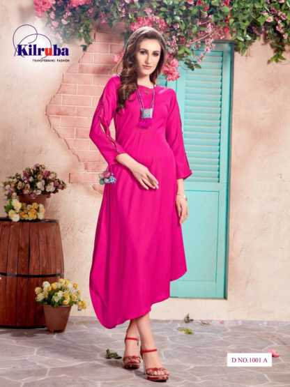 Kilruba Kurti Gown Catalogue (4 Designs) with Latkan and Necklace (2)