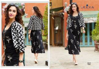 Cambric Print Black Color Fancy Stylish Kurti (Design 1017)
