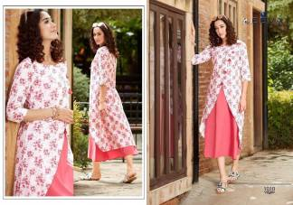 Cambric with Print Jacket White Pink Color Fancy Stylish Kurti (Design 1010)