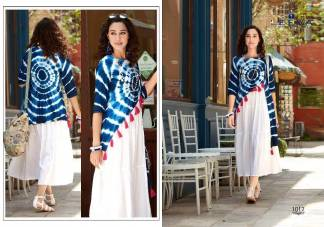 Rayon Tie-Die Print Print White Blue Color Fancy Stylish Kurti (Design 1012)