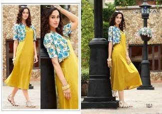 Slub Cotton with Cambric Koti Yellow Color Fancy Stylish Kurti (Design 1013)