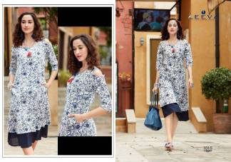 Rayon Print Blue White Color Fancy Stylish Kurti (Design 1015)