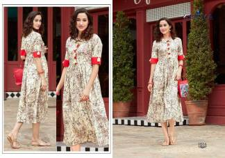 Cambric Print Cream Color Fancy Stylish Kurti (Design 1016)