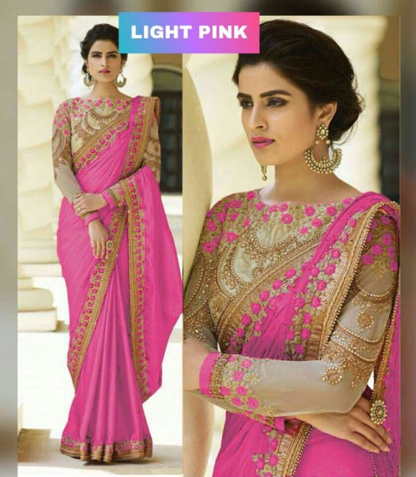 Light Pink Color Rangoli Silk Party Wear Saree With Embroidered And Diamond Work