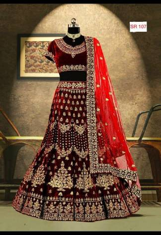 Maroon Color Velvet Designer Heavy Embroidered Bridal Lehenga