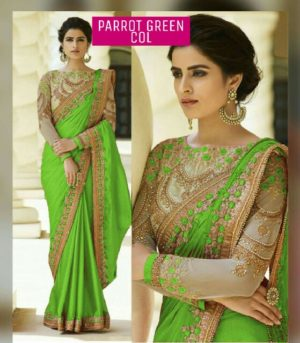 Parrot Green Color Rangoli Silk Party Wear Saree With Embroidered And Diamond Work