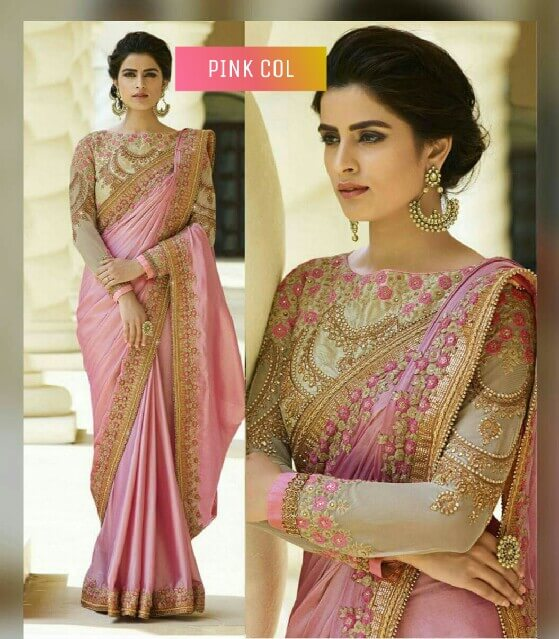 Pink Color Rangoli Silk Party Wear Saree With Embroidered And Diamond Work