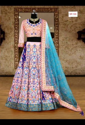 Pink Color Silk Designer Heavy Embroidered Bridal Lehenga