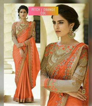 Pitch Or Orange Color Rangoli Silk Party Wear Saree With Embroidered And Diamond Work