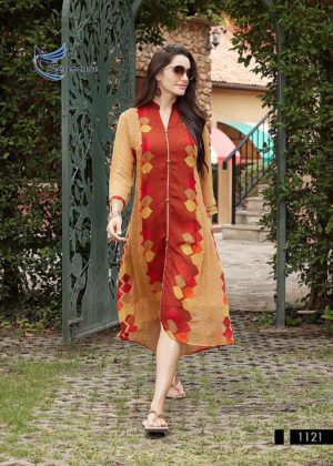 Printed Georgette Indo Western Style Maroon Color Kurti (Design 1121)