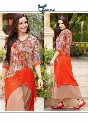 Printed Georgette Indo Western Style Orange Color Kurti (Design 1119)