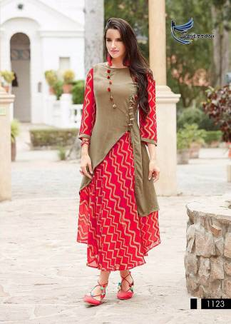 Printed Georgette Indo Western Style Pink Color Kurti (Design 1123)