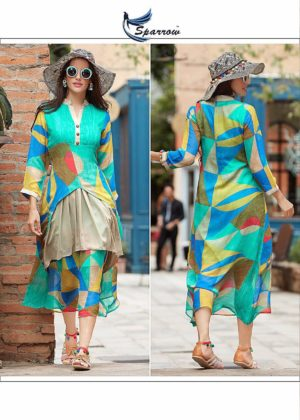 Printed Georgette Indo Western Style Sea-Green Color Kurti (Design 1122)