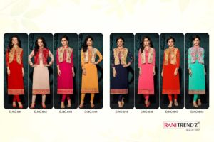 Rani Trendz Engage Party Wear Kurti Catalogue Wholesale with Jacket (8 Designs)
