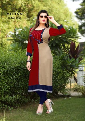 Rayon Print Grey Red Blue Color Fancy Stylish Kurti-Design 1036