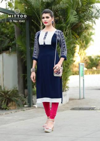 Rayon Print Navy Blue Color Fancy Stylish Kurti-Design 1042