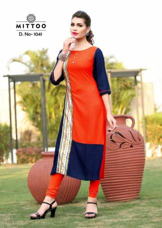 Rayon Print Orange Navy Blue Color Fancy Stylish Kurti-Design 1041