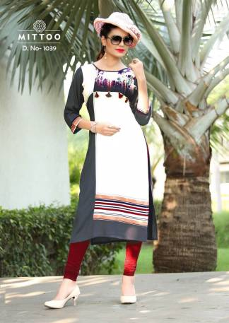 Rayon Print White Grey Color Fancy Stylish Kurti-Design 1039
