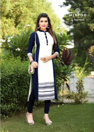 Rayon Print White Navy Blue Color Fancy Stylish Kurti-Design 1035
