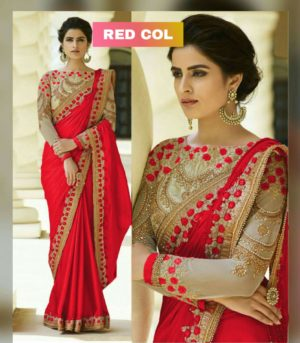 Red Color Rangoli Silk Party Wear Saree With Embroidered And Diamond Work