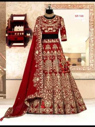 Red Color Silk Designer Heavy Embroidered Bridal Lehenga